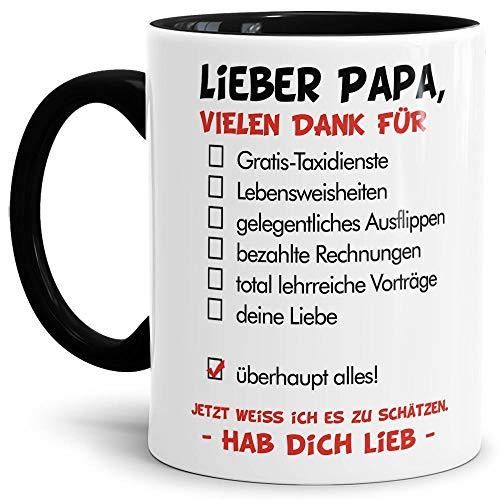Tassendruck Vatertags-Tasse mit Spruch Lieber Papa - Hab Dich lieb - Familie/Geschenk-Idee/Danke/Innen & Henkel Schwarz