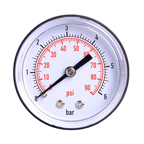 Manometer aus ABS Kunststoff / 0-6 bar | 0-90 psi/ø 50 mm / 1/4