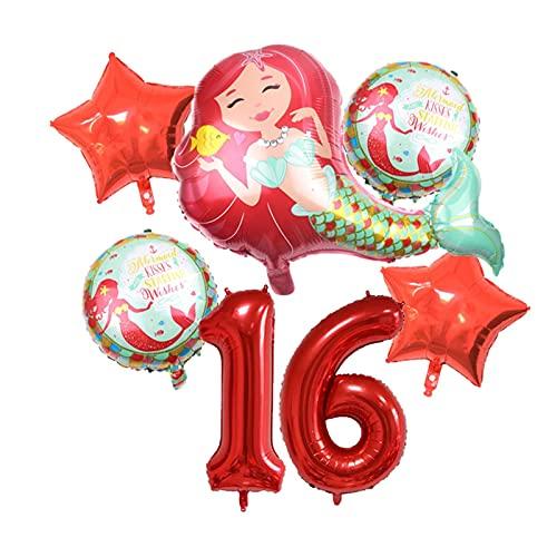XIAOZSM Globos Globos de lámina de sirpea púrpura roja con número de dígitos de 40 Pulgadas Helio Globo Dibujos Animados Globos Decoraciones de Fiesta de cumpleaños niños o Adultos ( Farbe : Red 16 )