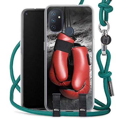 DeinDesign Carry Case kompatibel mit OnePlus N100 Hülle mit Kordel aus Stoff Handykette zum Umhängen türkis Boxen Boxhandschuhe Sport
