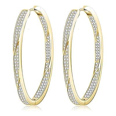 Fashion Gold Silver Hoop Earrings Hypoallergenic High Polished Dangle Drop Minimalist Hoops Earrings for Women Men Dainty- Large 10-50mm
