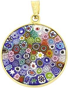 """GlassOfVenice - Colgante de cristal de Murano, diseño de Millefiori, multicolor en marco chapado en oro de 7/8"""""""