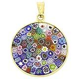 GlassOfVenice - Colgante de cristal de Murano, diseño de Millefiori, multicolor en marco chapado en oro de 7/8'