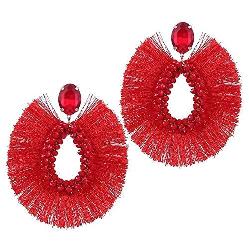 Tassel Earrings Statement Bohemian Handmade Earrings For Women Female Crystal Dangle Earring Fashion Jewelry Red
