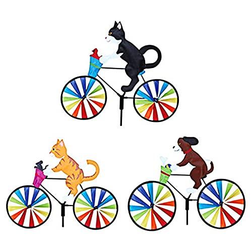LIYOUPIN Aquiloni Bike Wind Spinner per Decorazioni da Esterno, Girandole di Animali Yard Art Decorazioni per picchetti da Giardino Ornamenti da Giardino Decorativi, Cesto escluso 3 Pezzi
