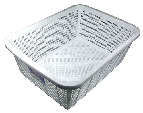 リス 角ざる 深型 中 ホワイト W31.6×D41.8×H16cm H&H キッチンバスケット DM 日本製