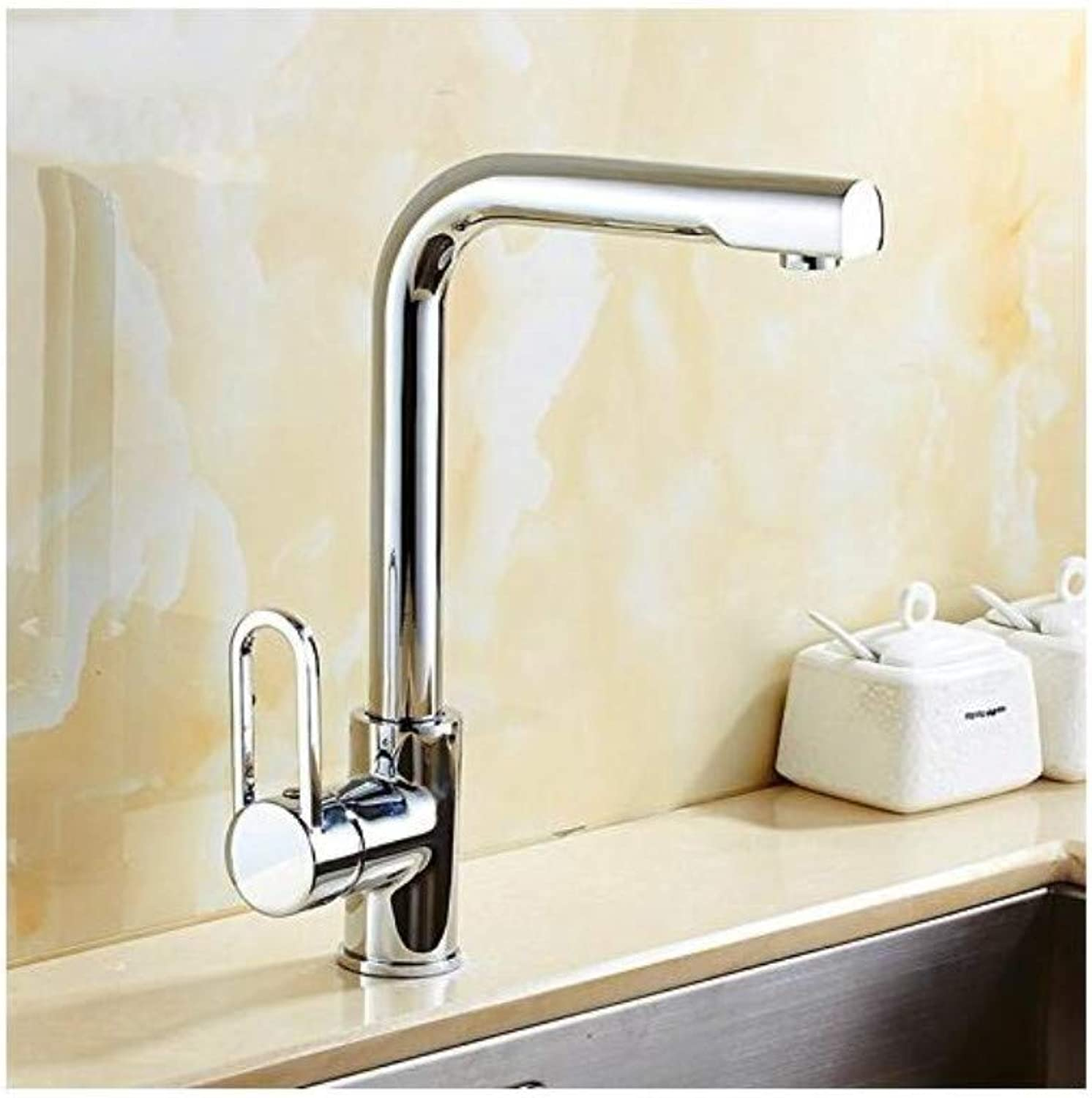 Vintage Plated Mixer Faucet Solid Brass Kitchen Faucet with Polished Chrome Kitchen Sink Faucet by Single Handle Sanitary Ware