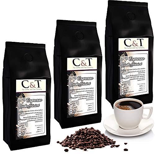 Kaffeebohnen entkoffeiniert - ESPRESSO CREMA- Kaffee entcoffeiniert 3 x 1000g