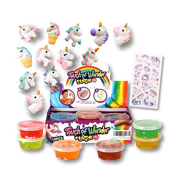 Unicorn Slime Kit for Girls Boys. 12 Slime, 12 Unicorn Charms & Unicorn Stickers. Super Soft, Fluffy & Stretchy. Unicorn… 4