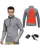 Heated Underwear Thermal Shirt for Men Women Heated Clothes Heat Base Layer Heated Sweatshirt Thermal Underwear Shirts Battery Heated Shirt (Grey, Large)
