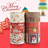 """Christmas Washi Tape Set, 6Rolls Decorative Duct Tape Holiday Christmas Craft Decorative Set for Xmas Decorations Christmas Party Favors Supplies, 1.7"""" x 10ft, flash"""