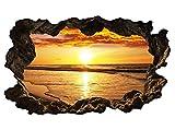 3D Wandtattoo Meer Sonnenuntergang Wasser Wandbild Wandsticker selbstklebend Wandmotiv Wohnzimmer Wand Aufkleber 11E607, Wandbild Größe E:98cmx58cm