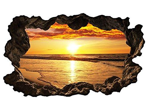 3D Wandtattoo Meer Sonnenuntergang Wasser Wandbild Wandsticker selbstklebend Wandmotiv Wohnzimmer Wand Aufkleber 11E607, Wandbild Größe E:ca. 168cmx98cm