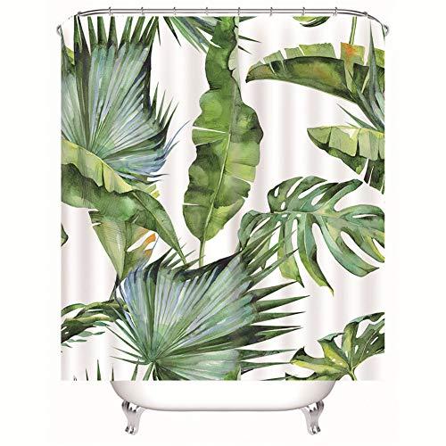 Chickwin Duschvorhang Wasserdicht Antischimmel,Duschvorhänge Polyester Waschbar Bad Vorhang mit 12 Duschvorhangringe - 3D Tropisch Blatt Pflanze Motiv Badewanne Vorhang (Banane Blatt,200x200cm)