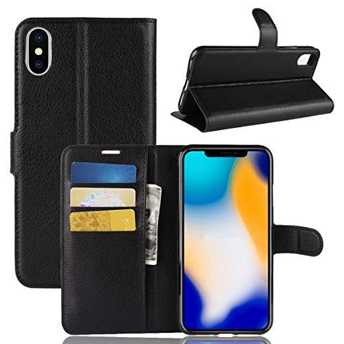 Capa Capinha Carteira Case 360 Para iPhone Xs Max Tela De 6.5Couro Sintético Flip Wallet Para Cartão - Pronta Entrega (Preto)