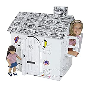 Emily Rose Incredible Dollhouse or Kid's Play House | Ready to Paint and Decorate Playhouse for Kids | Great Party Activity! (Farm House)
