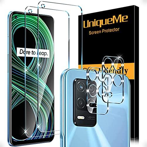 [4 Pack] UniqueMe 2 Pack Protector de Pantalla Compatible con Realme 8 5G [No aplica para Realme 8 4G/Realme 8 Pro] y 2 Pack Protector de lente de cámara Cristal Templado,[Sin Burbujas] HD Vidrio
