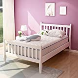 Twin Bed, Rockjame Premium Platform Bed Frame Mattress Foundation with Strong Wood Slat Support, Easy Assembly, No Box Spring Needed, Great for Boys, Girls, Kids, Young Teens and Adults (White)