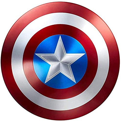 LNSOO Capitán América Escudo de Metal, Viento Industrial Capitán América Escudo Retro Pared Escudo Creativo Decoración de Barra Reloj de Pared Decoración muda Disfraz de superhéroe Traje A, 47cm