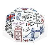 Paraguas 3 pliegues personalizar Arte Doodles Londres Colorido Anti-UV a prueba de viento Ligero