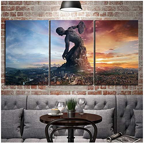 sjkkad Sid Meiers Civilization 6 Spiel Home Decoration Leinwand Malerei Bilder Wandkunst Drucke Modular Poster für Schlafzimmer -40x60cm x3pcs No Frame