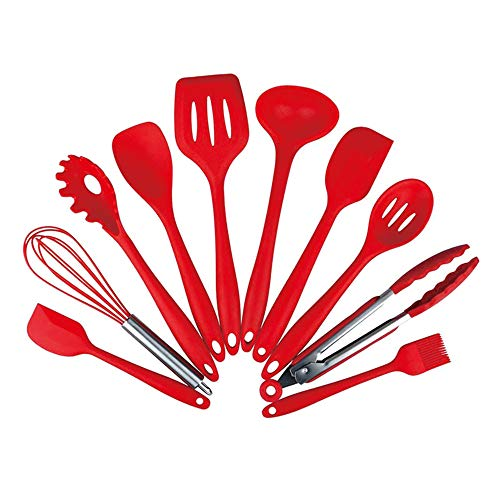 DQM 9 Silicone Cooking Utensils for Non-stick Cookware, Silicone Cooking Utensils Kitchen Utensil Set, Wood Kitchen Utensils