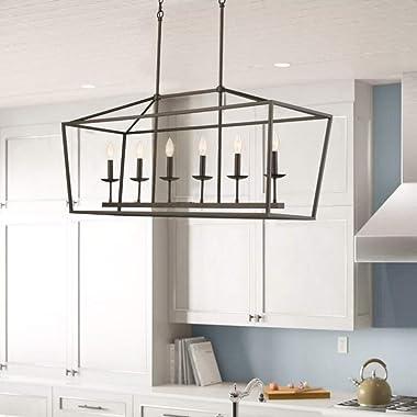 Emliviar 6-Light Kitchen Island Lighting, Modern Linear Pendant Light Fixture, Oil Rubbed Bronze Finish, P3035-6LP