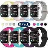 Hamile Compatible avec Apple Watch Bracelet 42mm 44mm, Sport en Silicone Souple Remplacement Bracelet pour Apple Watch Series...