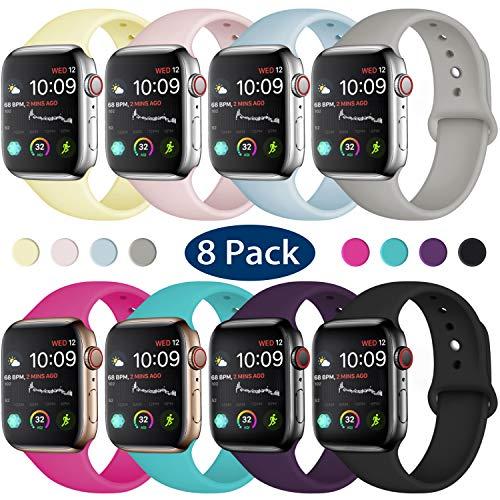 Hamile Cinturino Compatibile con Apple Watch 38mm 40mm, Cinturini Sportiva in Morbido Silicone di Ricambio per Apple Watch Series 5/4/3/2/1, S/M 8 Pack