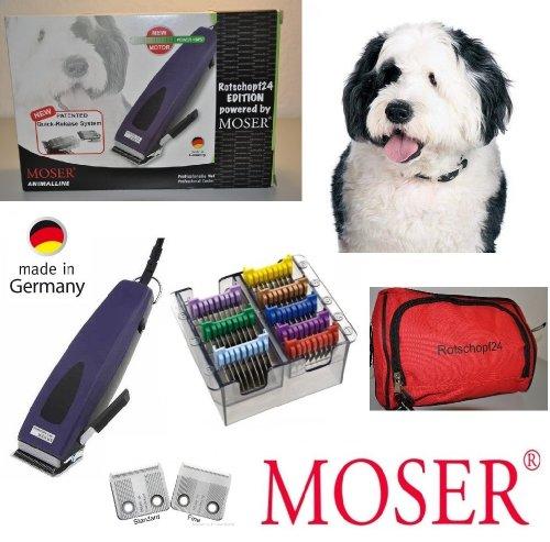 Rotschopf24 Edition: Moser Hundeschermaschine REX1233 + extra Feinschneidsatz + acht Metallaufschiebekämme. Made in Germany!