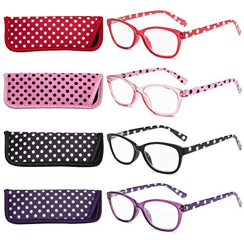 EYEGUARD Polka Dots Fashion Ladies Reading Glasses 4 Pairs Spring Hinge Readers for Women