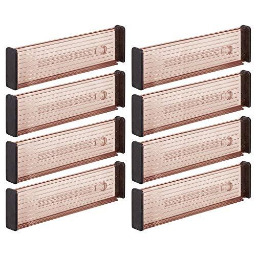 mDesign Juego de 8 separadores de cajones Regulables – Práctico Organizador de cajones para Armario de Cocina – Versátil Divisor de cajones Hecho de plástico – Color Arena/Negro