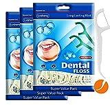 Dental Floss Picks for Teeth,Fresh Mint Dental Picks,3-Pack(600 Count), High Polymer Medical fine Thread ,No Break,Shred or Stretch,Toothpicks Sticks,Floss Sticks,Deep Tooth Brush Cleans (SIZE-1, 600)
