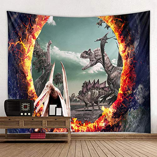 Tapiz de Pared Bohemio con Estampado de Dinosaurio en 3D, Tapiz de decoración de Pared con Mandala, (71x91 Pulgadas) (180x230cm)