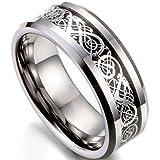 Flongo Herrenring Männer Ringe Bandring Daumen Ring Siegelring Wolfram Wolframcarbid Silber Schwarz Irish Celtic Knot Irischen Keltisch Knoten Drachen Herren-Accessoires, Größe 76