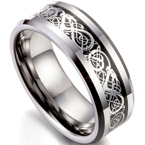 Flongo Herrenring Männer Ringe Bandring Daumen Ring Siegelring Wolfram Wolframcarbid Silber Schwarz Irish Celtic Knot Irischen Keltisch Knoten Drachen Herren-Accessoires, Größe 75