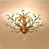 Candelabros vintage de 4 luces para sala de estar Dormitorio Restaurante Candelabros de cristal Luces de techo Luces colgantes LED Lámparas de techo (dorado)