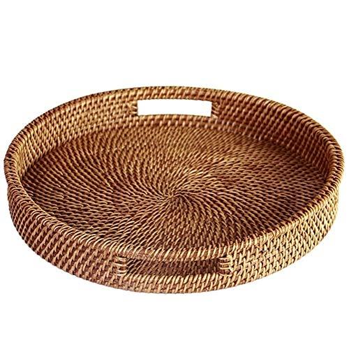 Bandeja de mimbre redonda con asa tejida a mano multiusos con fibra de ratán duradera redonda de 33,5 cm de diámetro