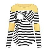 Camiseta de Lactancia de Manga Larga, diseño de Rayas - Amarillo - X-Large