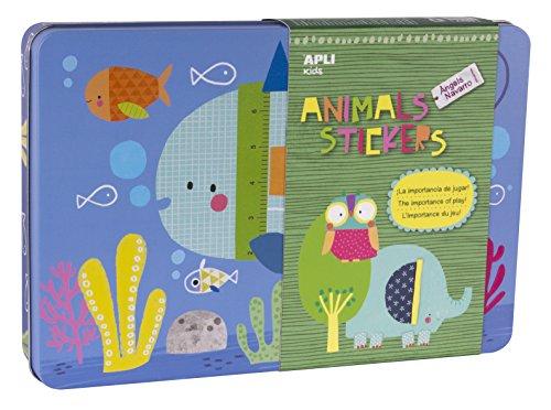 APLI Kids- Caja de Metal, Animal Stickers, Multicolor, (14827)