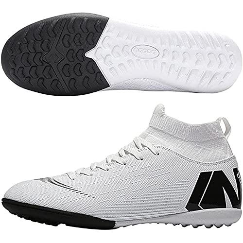 XRDSHY Zapatillas de Fútbol para Hombre Profesionales Botas de Fútbol Aire Libre Atletismo Zapatos de Entrenamiento Zapatos de Fútbol,1 White-38 EU