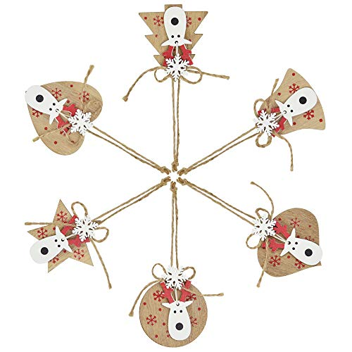 KLYNGTSK 6 Pezzi Addobbi per Albero di Natale Decorazioni in Legno da Appendere all'albero Ciondolo Albero di Natale Ornamenti Pendenti Natalizi Decorazione Natalizie per Il Fai da Te, 6 Stili