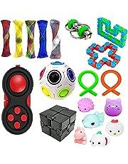 Fidget Toy Set,Fidget Blocks Fidget Pack Sensorial Alivia la ansiedad por estrés para niños Adultos,Fidget Pack con un Simple hoyuelo en él,Tie Dye Push Pop Bubble Toy y más
