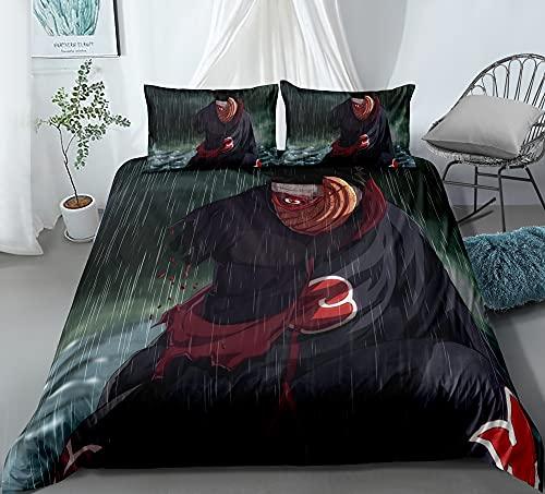 Cubierta de la colcha de tres piezas for Naruto Uchiha Obito Sharingan, funda de almohada de acolchado de anime 3D, 100% poliéster, suave y cómodo, ropa de cama for los fanáticos de Otaku y Anime, el