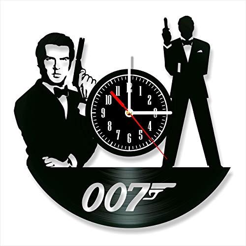 James Bond - Reloj de pared de vinilo con diseño retro y silencioso, decoración para el hogar, arte único, accesorios especiales para el hogar