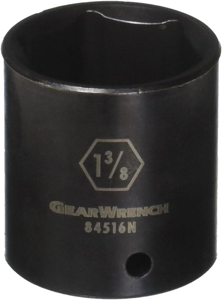 GEARWRENCH 1//2 Drive 6 Pt Standard Impact Socket 1-1//8-84512N