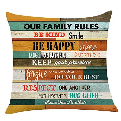 XUWELL Family Rules - Funda de cojín para sofá, cama, decoración del hogar, 45 x 45 cm