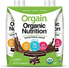 Orgain Organic Nutritional Shake, Creamy Chocolate Fudge - Meal Replacement, 16g Protein, 21 Vitamins & Minerals, Gluten Free, Soy Free, Kosher, Non-GMO, 11 Ounce, 4 Count (Packaging May Vary)