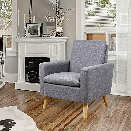 Moderner Stoffsessel, Einzelsofa, bequem, gepolstert, Sessel, Wohnzimmermöbel, senffarben