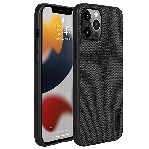 memumi Hülle für iPhone 13 Pro, Mehrweg Leinen Schutzhülle,Anti-Fingerabdruck, Stößen Schutzhülle kompatibel mit iPhone 13 Pro Hülle Cover [ TPU Rahmen ]-Schwarz